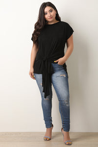 Textured Knit Knotted Asymmetrical Hem Top
