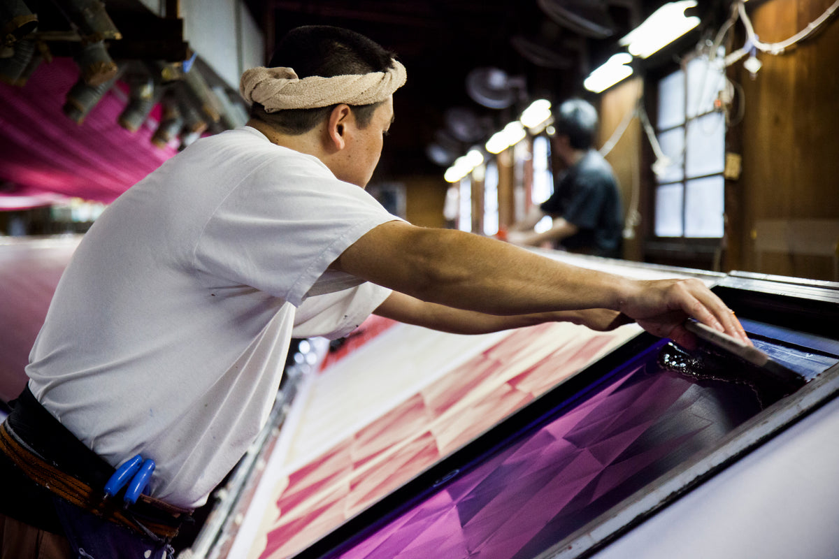 Hand printing furoshiki in Japan