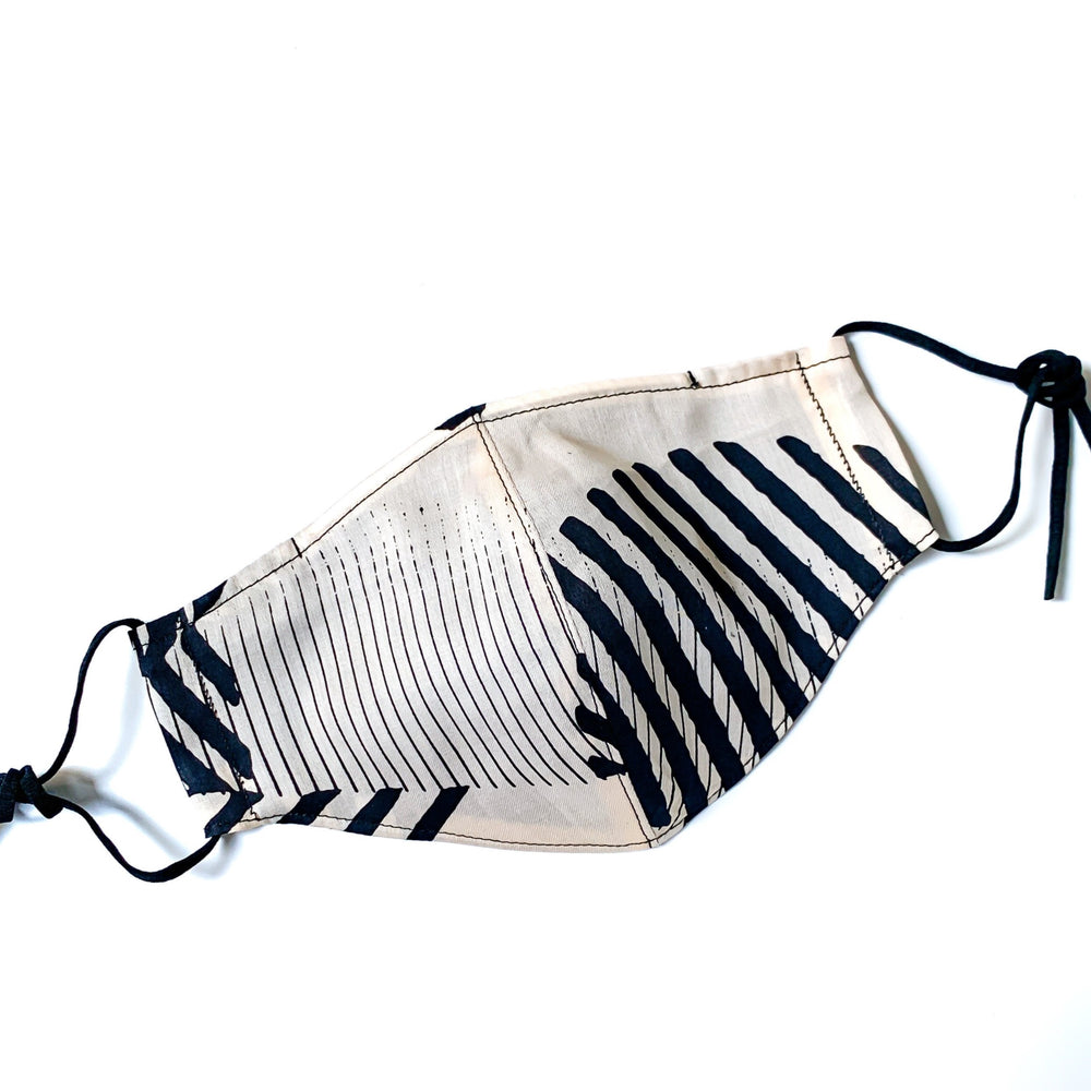 Furoshiki mesh lining face mask (Dots Black)