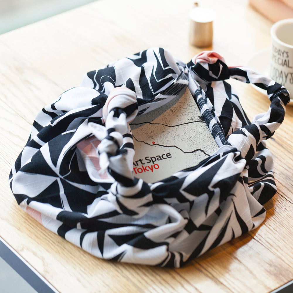 """Angles"" furoshiki textile in white, black and pink"