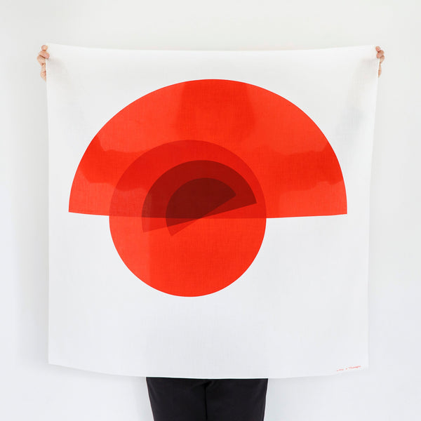 """Arcs"" furoshiki textile in white and red"