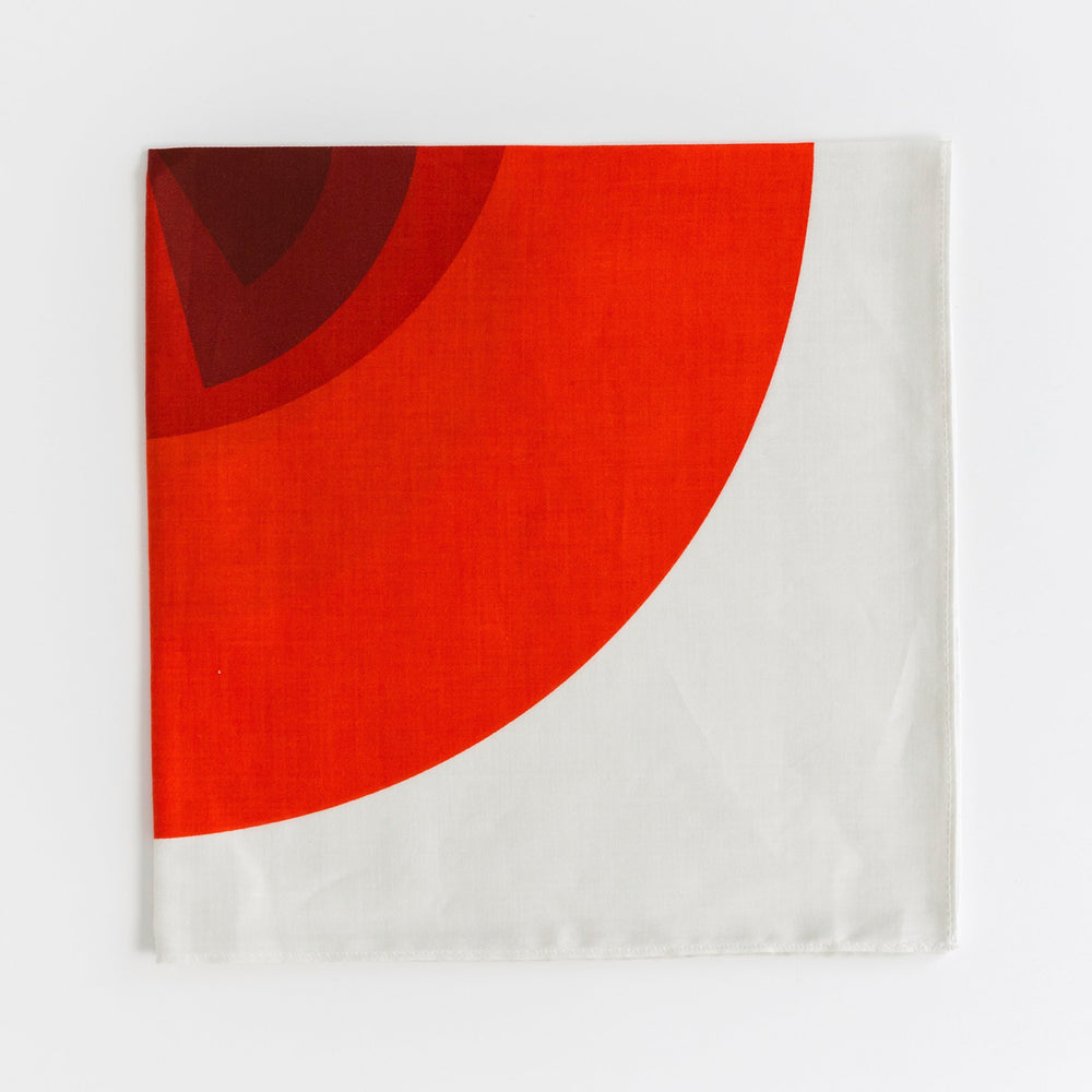 """Arcs"" handkerchief in red and white"