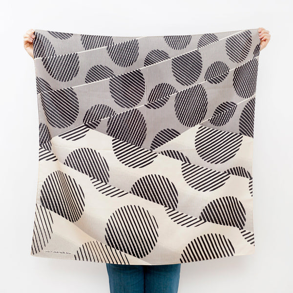 """Dots"" furoshiki textile in black and cream"