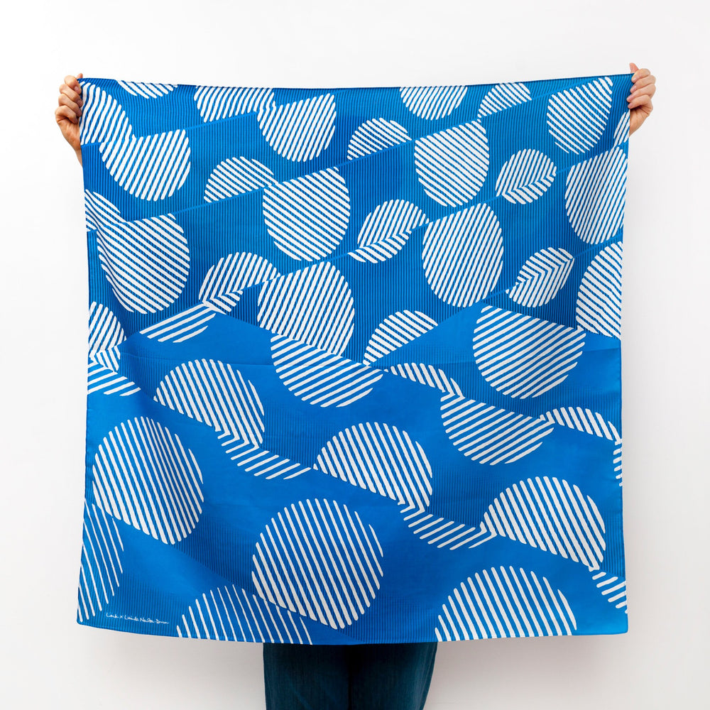 """Dots"" furoshiki textile in blue and cream"