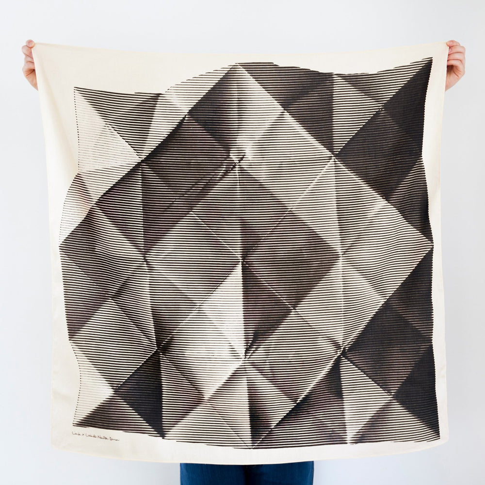 """Folded Paper"" furoshiki textile in black and cream"