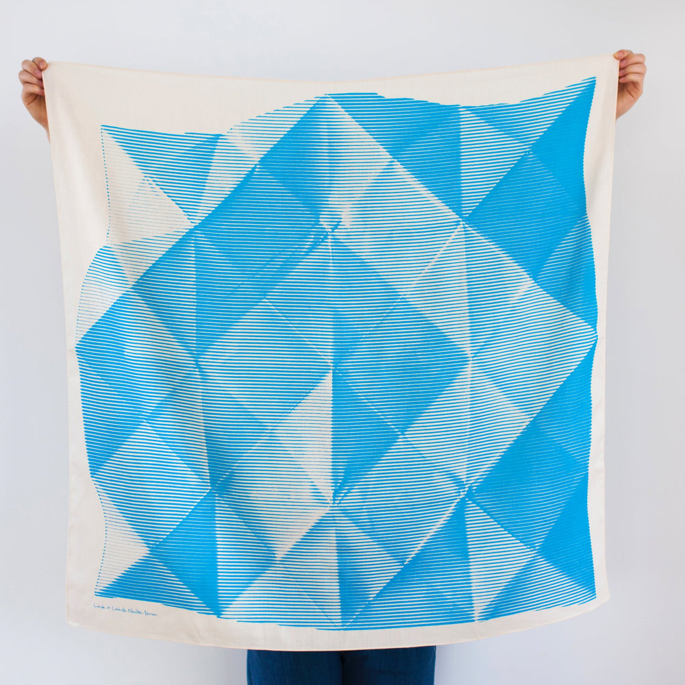 """Folded Paper"" furoshiki textile in blue and cream"