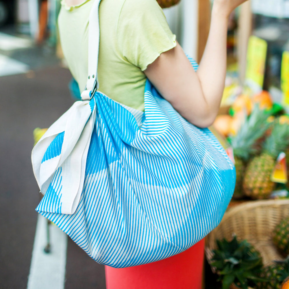 """Folded Paper"" furoshiki (blue) bag"