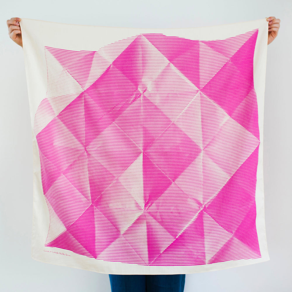 """Folded Paper"" furoshiki textile in pink and cream"