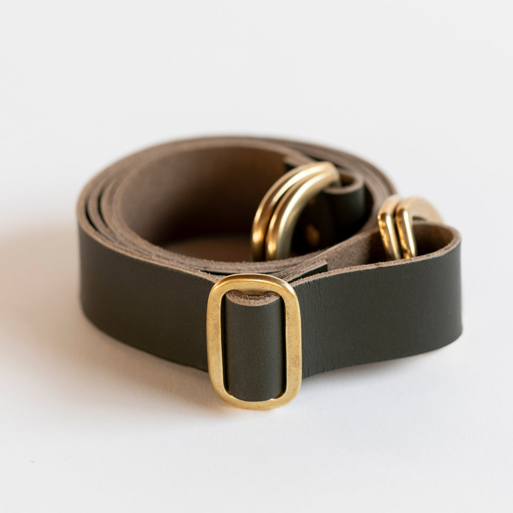 Adjustable Leather Strap (Dark Olive)
