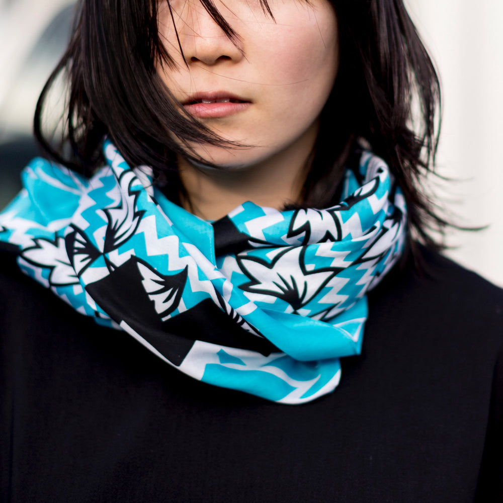 """Ivy"" furoshiki textile in blue, black and white"