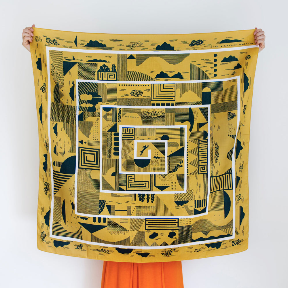 """Maze"" furoshiki textile in mustard, navy and white"