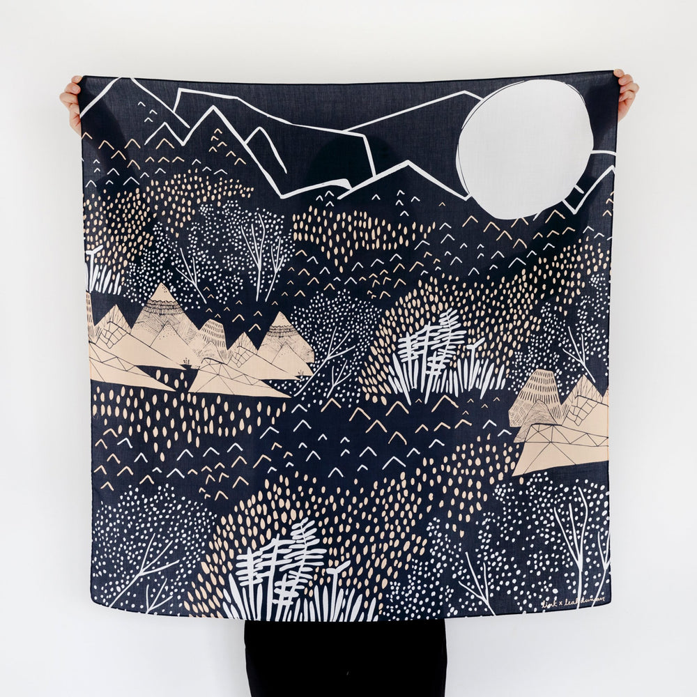 """Mountain Blossom"" furoshiki textile in midnight blue, pink and cream"