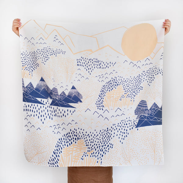 """Mountain Blossom"" furoshiki textile in cream, pink and navy"