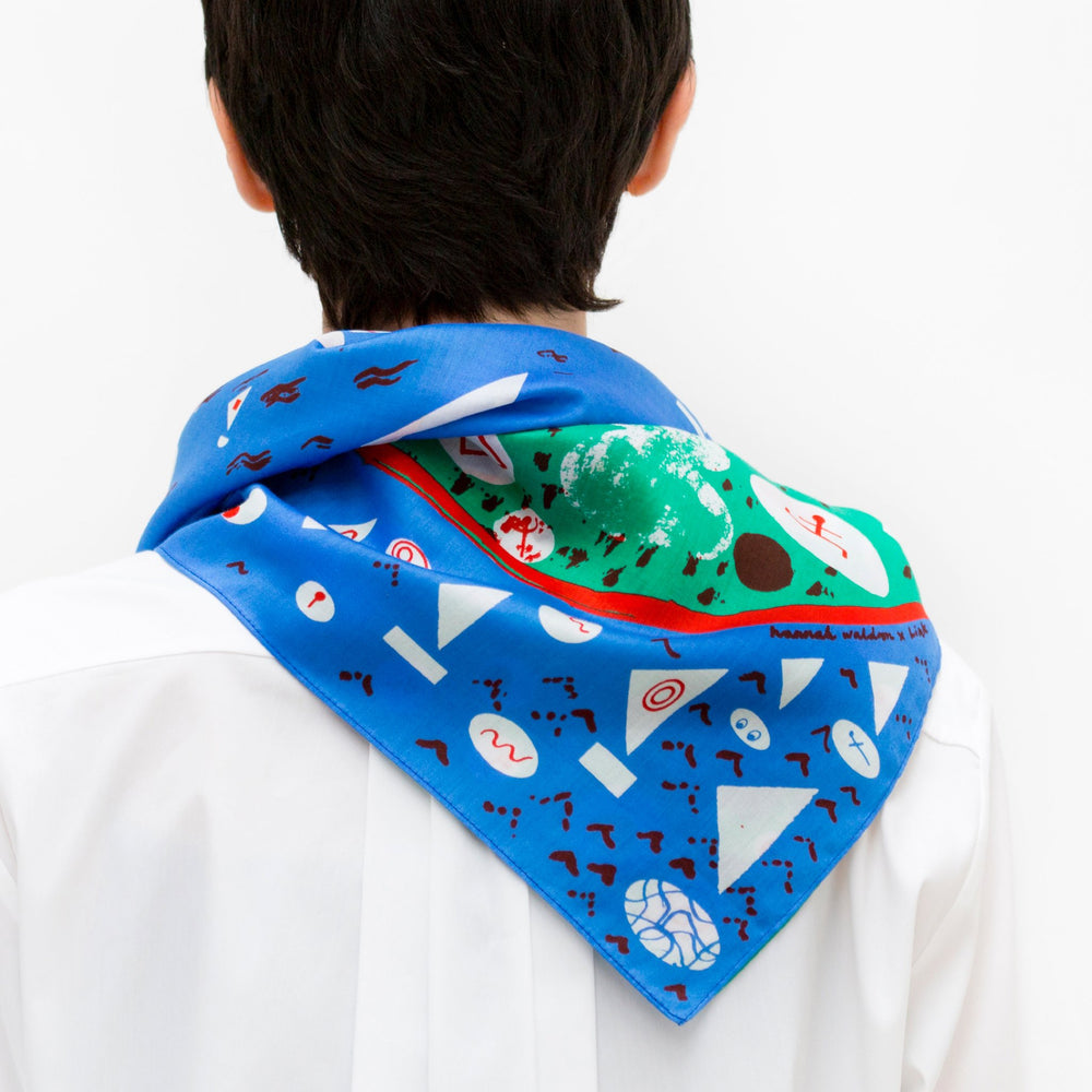 """Stockholm"" furoshiki textile in blue, green, red and white"