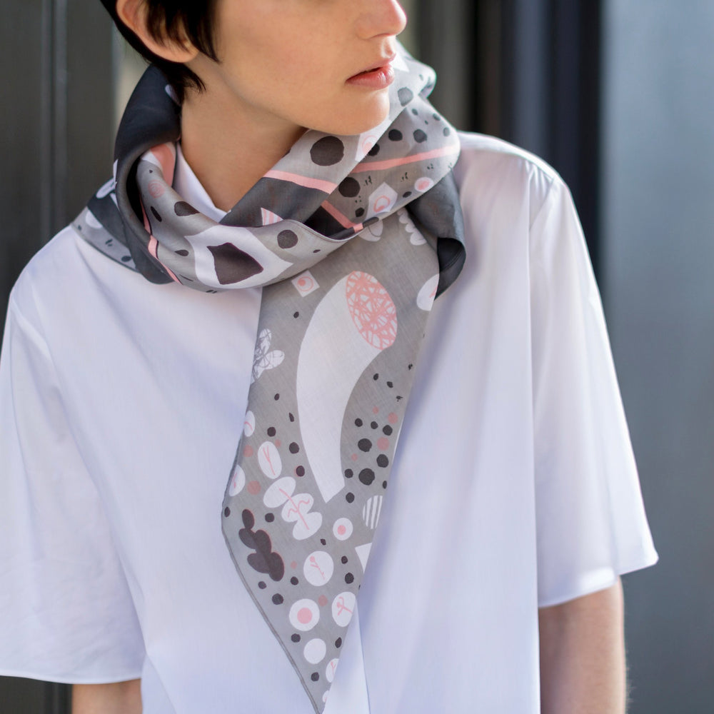 """Stockholm"" furoshiki textile in gray, pink and white"