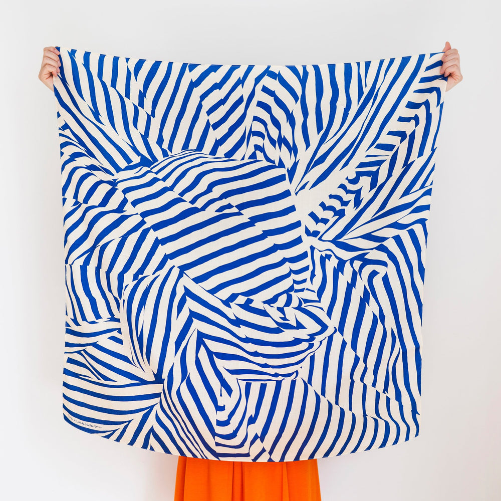 """Stripe"" furoshiki textile in navy and beige"