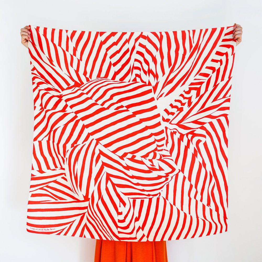 """Stripe"" furoshiki textile in red and beige"