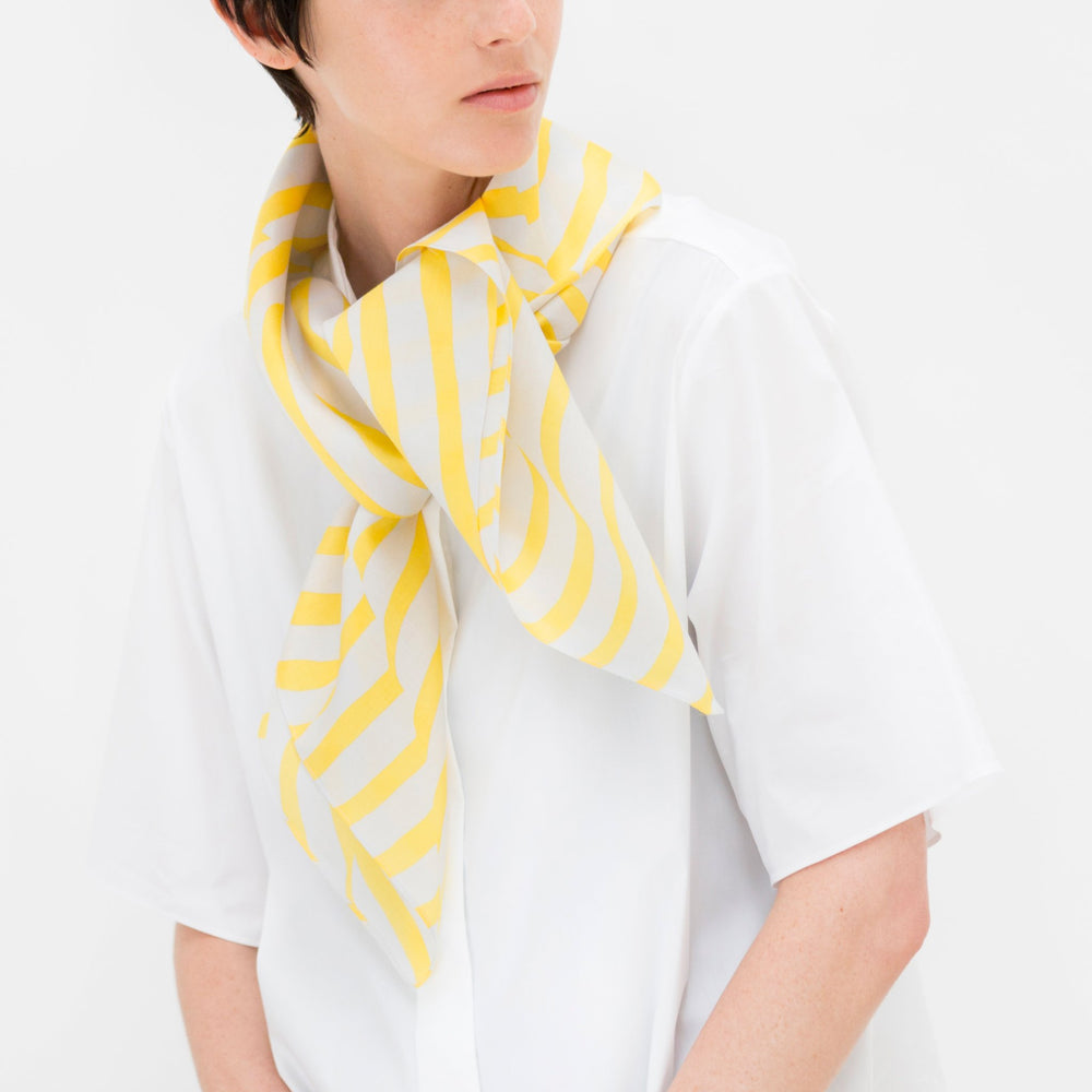 """Stripe"" furoshiki textile in yellow and gray"