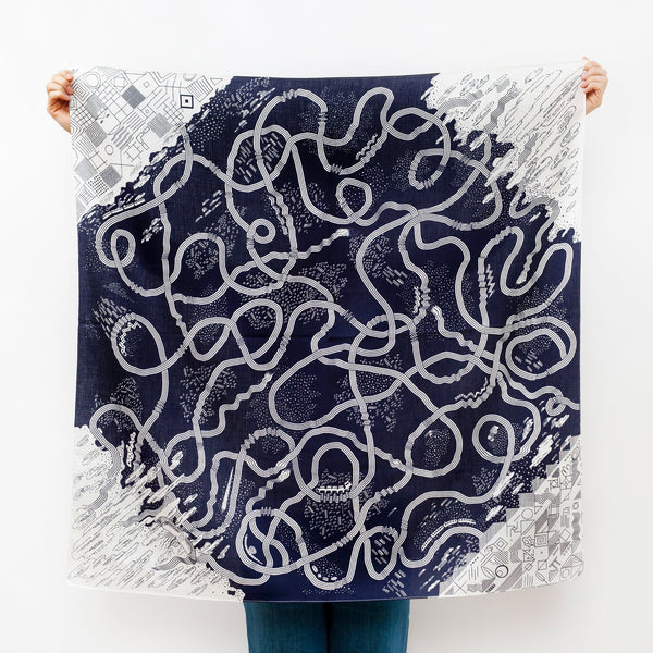 """The Hida Express"" furoshiki textile in navy and white"