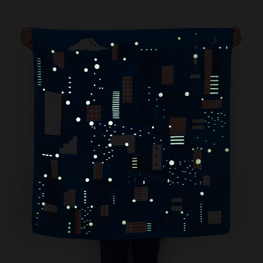 """Tokyo"" furoshiki textile in blue, red, white and glow in the dark ink"