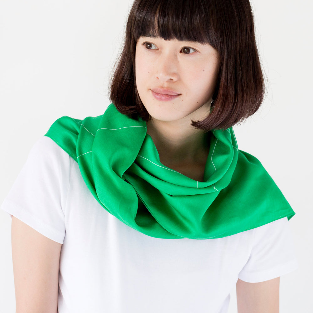 """Triangles"" furoshiki textile in green and white"