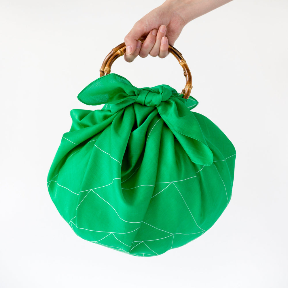 """Triangles"" furoshiki bamboo handle bag set"