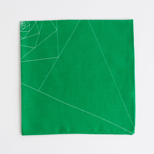 """Triangles"" handkerchief in green and white"