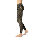 Asana's Women's Koi Fish Black Leggings
