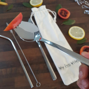 Reusable cutlery set from My Eco Vita. Includes a stainless steel spork, knife and a straw that comes with a cleaning brush.