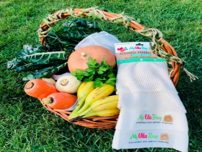 Reusable produce bags by My Eco Vita. They come in a pack of 4 with 2 options of large and small bags. These produce bags are organic, compostable and the best eco friendly option to avoid single use plastic bags