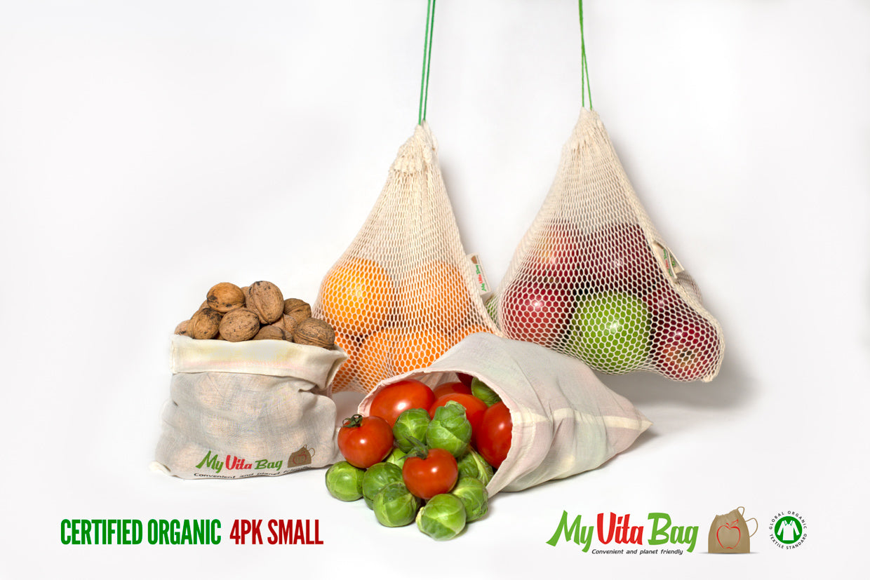 Organic Cotton Produce Bags 4 pack Mix