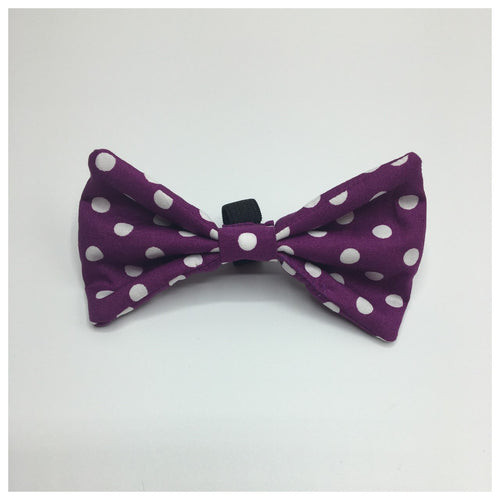 Purple Dotty Bow Tie - Available in 2 Sizes