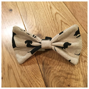 Sausage Dog Natural Bow Tie