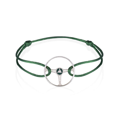 British Racing Green Sterling Silver Bracelet