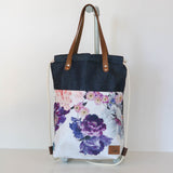 "Shopper / Turnbeutel ""Merle"" • Floral Denim • 2in1 Tasche"