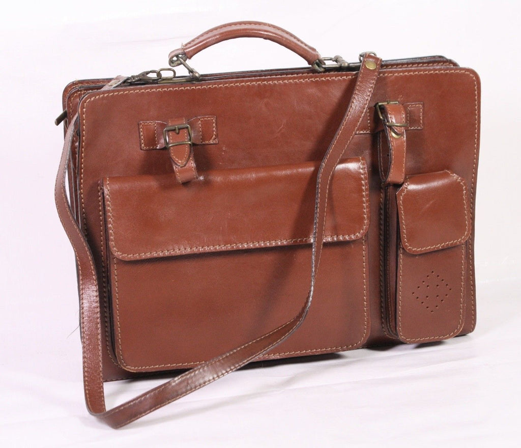 KO216 Kleine Aktentasche Business Tasche Leder braun Satchel Bag Vintage