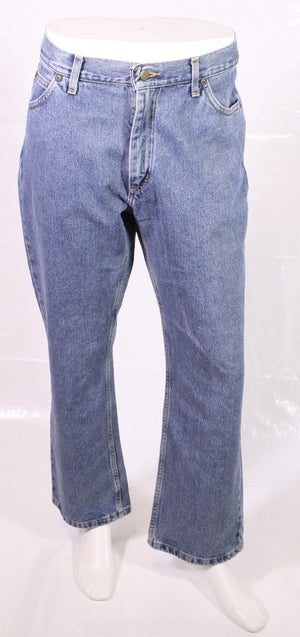 BJ1-13 LEE Boston Jeans W36 L30 blau straight leg relaxed Zip Fly Used-Look