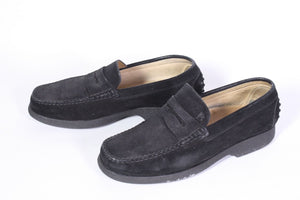 24D Joss Damen Schuhe Slipper Loafer Mokassins Gr. 40 Velours Leder schwarz
