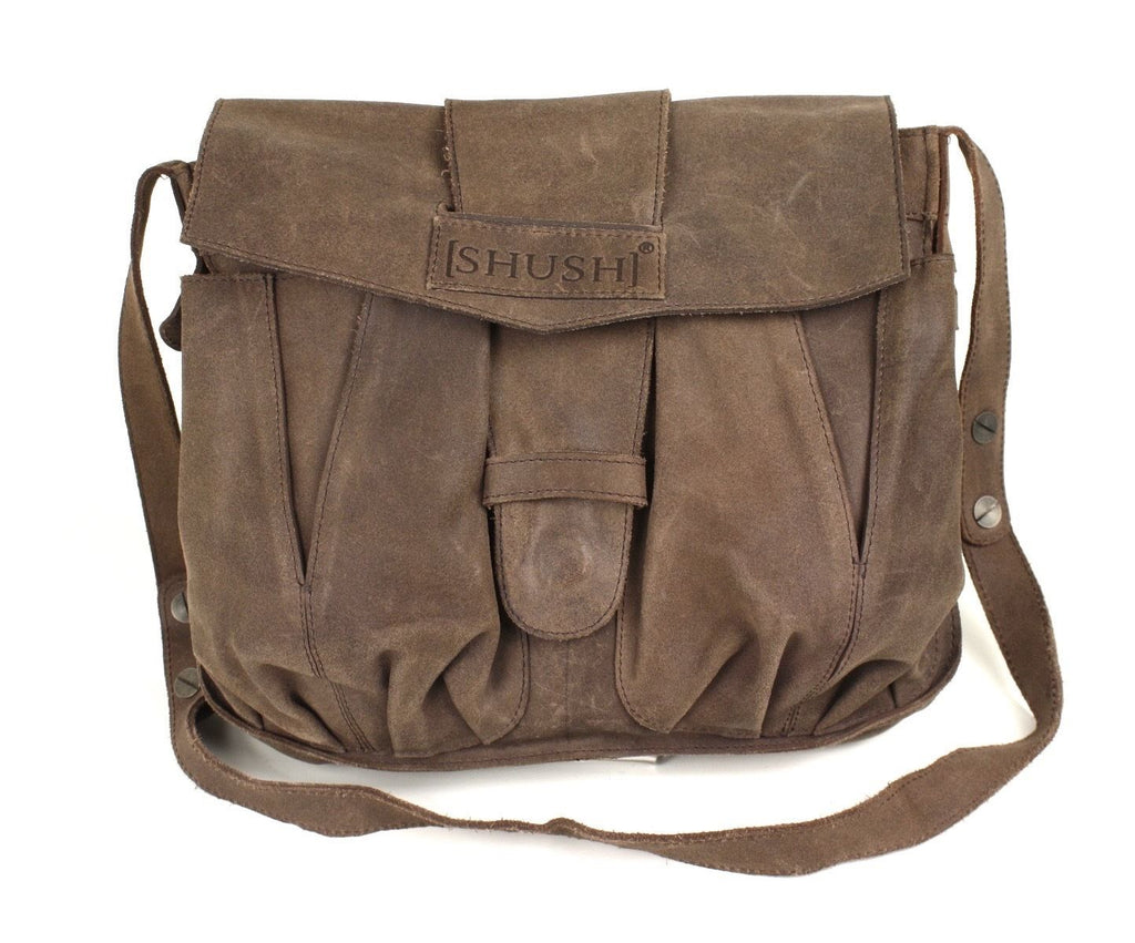 22B Shush Tasche Leder braun Umhängetasche Crossbody Messenger Bag Used-Look