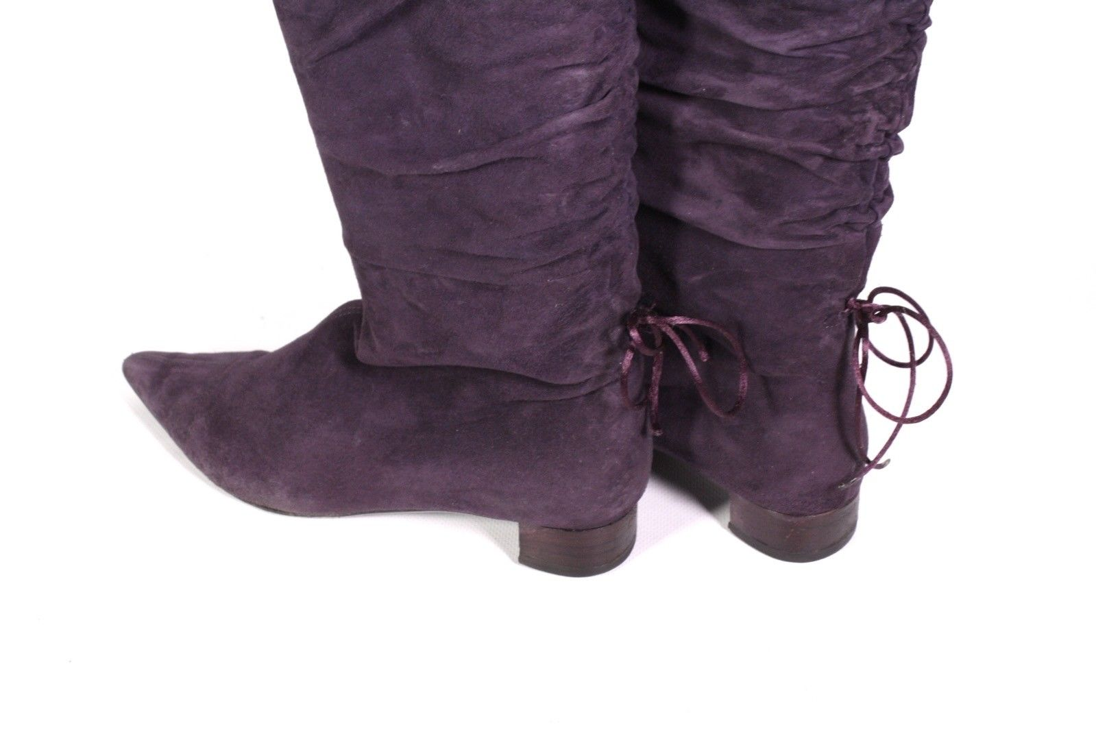 33S GUCCI Damen Stiefel Slouchy Boots weiches Leder Suede lila Gr. 36 spitz