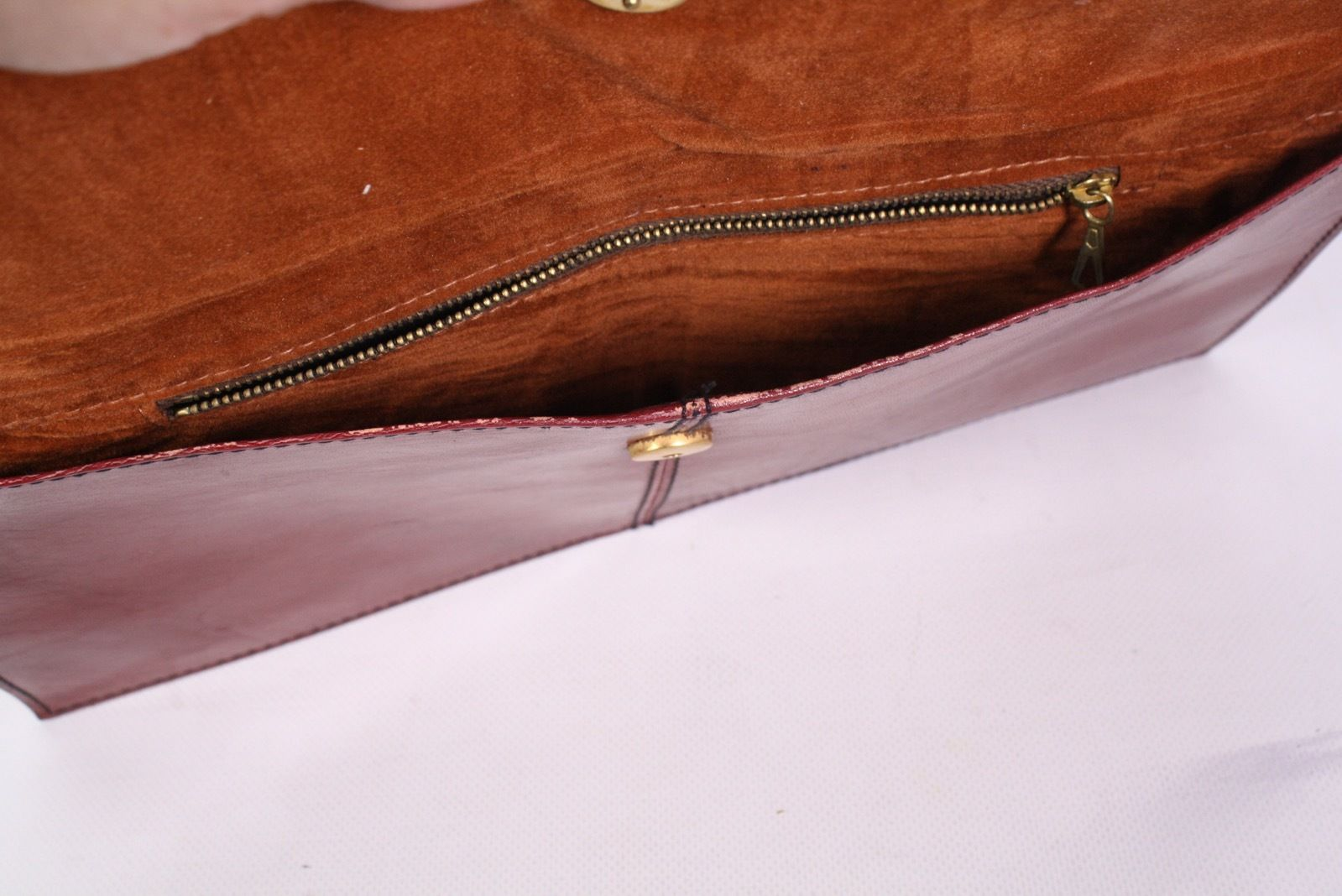 4B Michel Lamotte  Damen Tasche Clutch Bag Leder bordeaux Vintage Kuverttasche