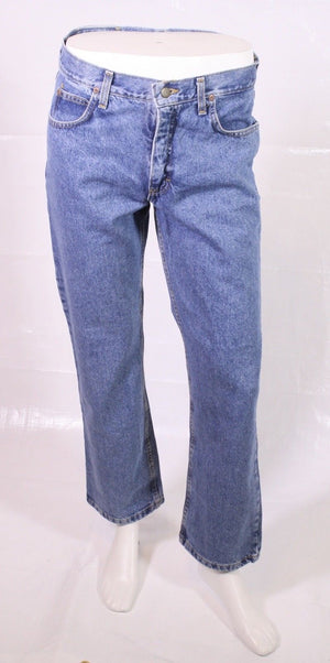 BJ1-12 LEE Ranger Jeans W34 L30 blau straight regular leg Zip Fly Used-Look