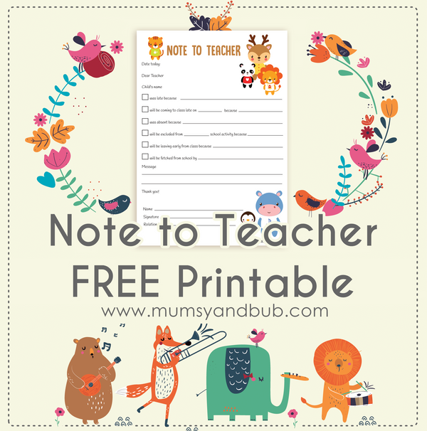Note to Teacher FREE Printable
