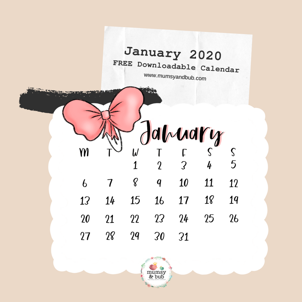 Free Downloadable Calendar for January 2020