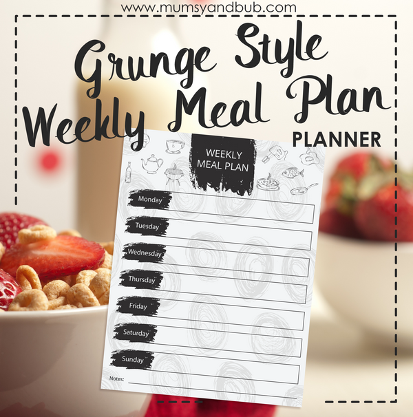 Grunge Style Weekly Meal Plan Planner