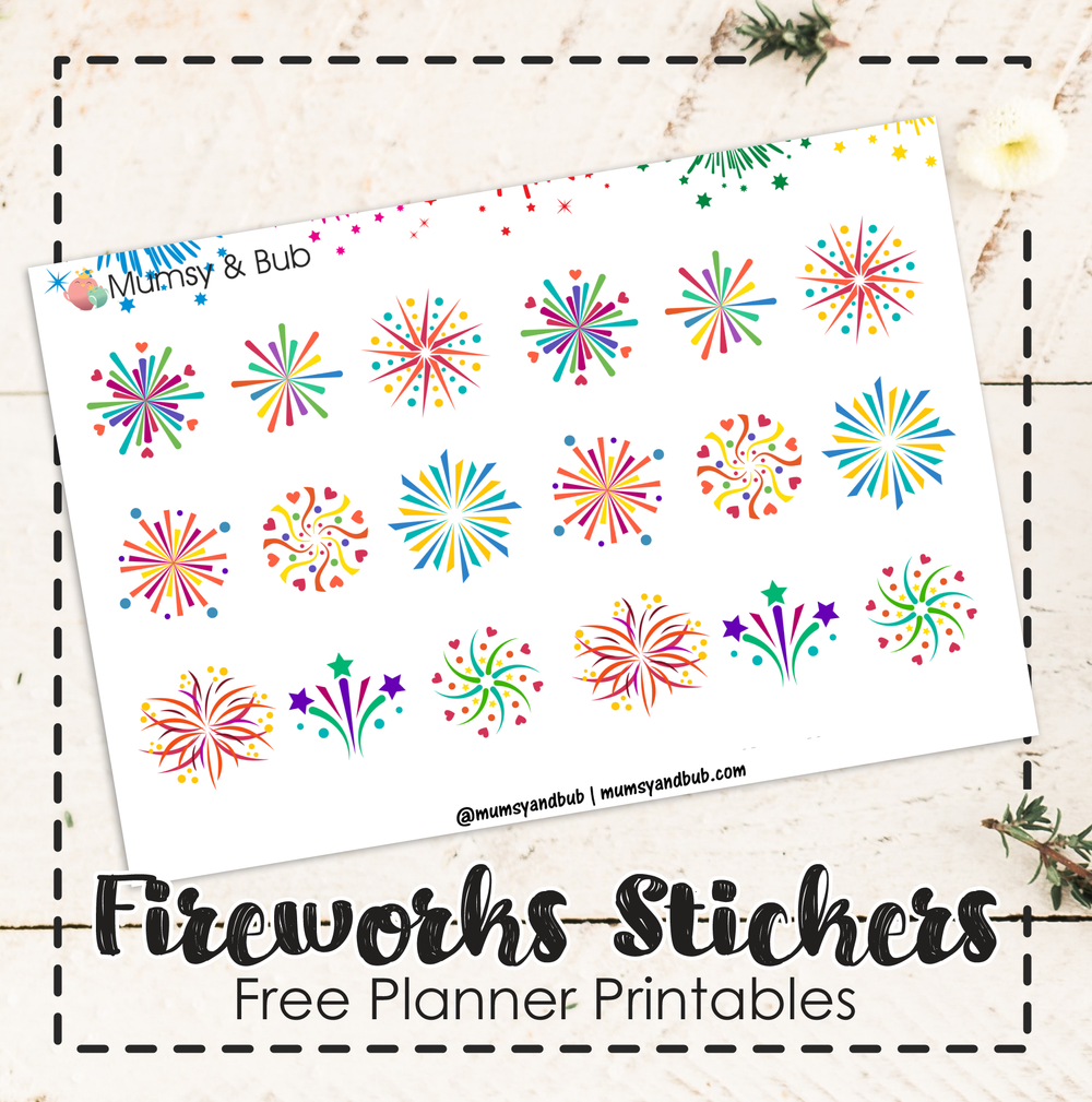 Fireworks Stickers Free Planner Printables