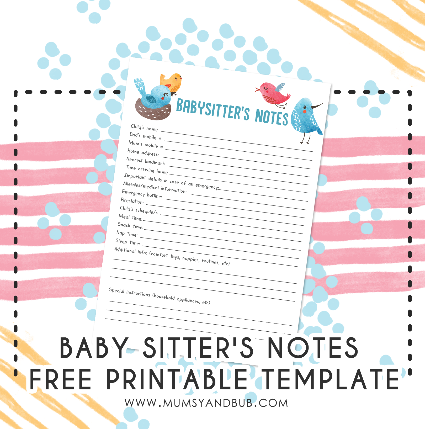 nanny notes template