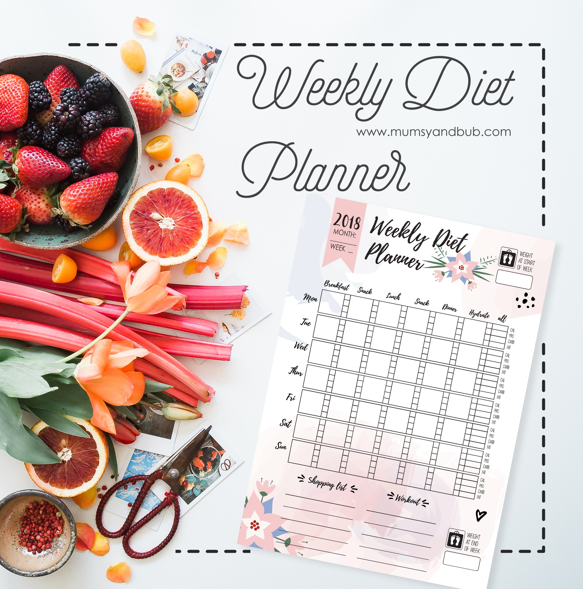weekly diet planner printable template mumsy and bub