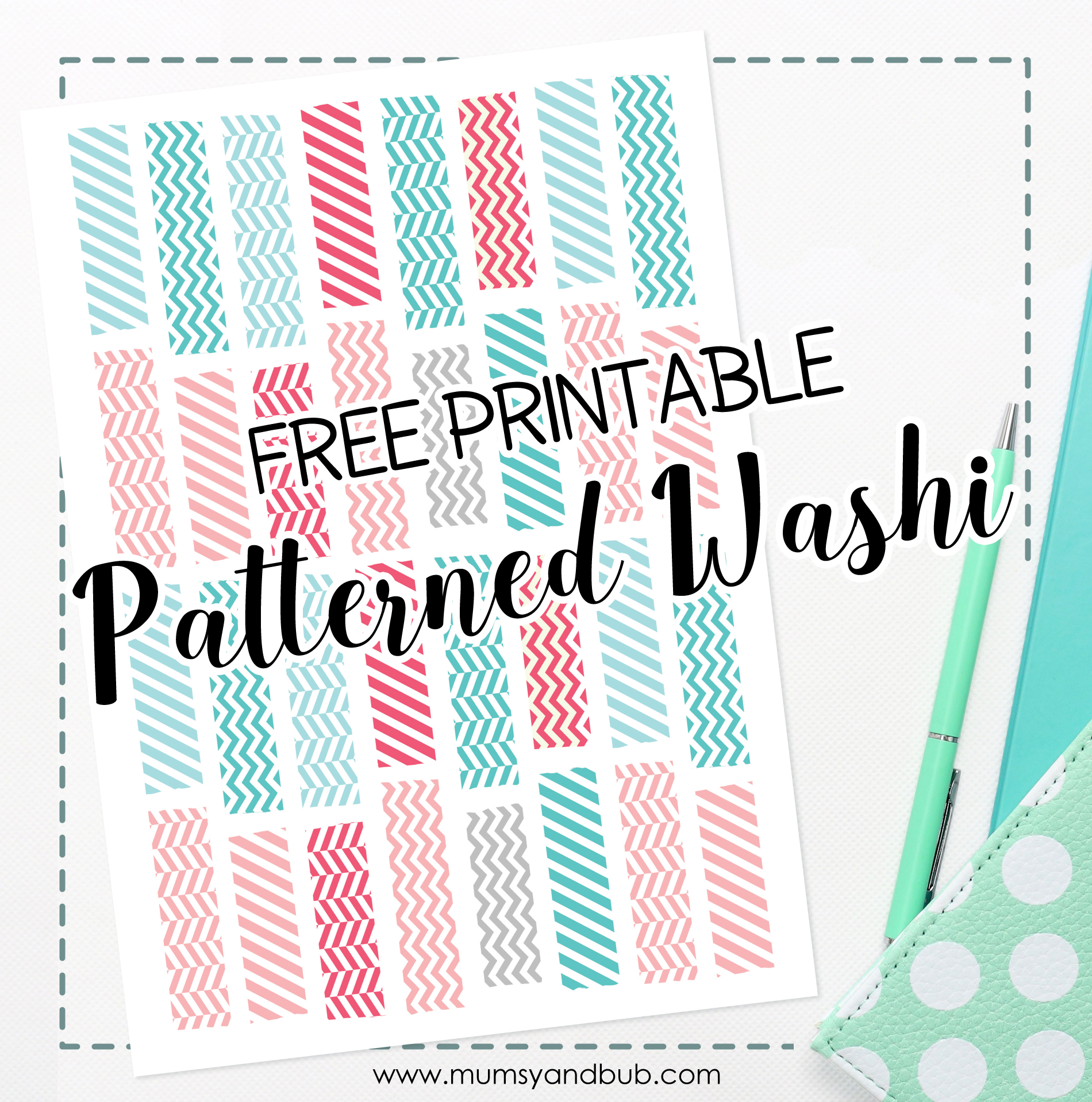 picture regarding Free Printable Washi Tape known as Patterned Washi Tape Totally free Planner Printable Mumsy and Bub