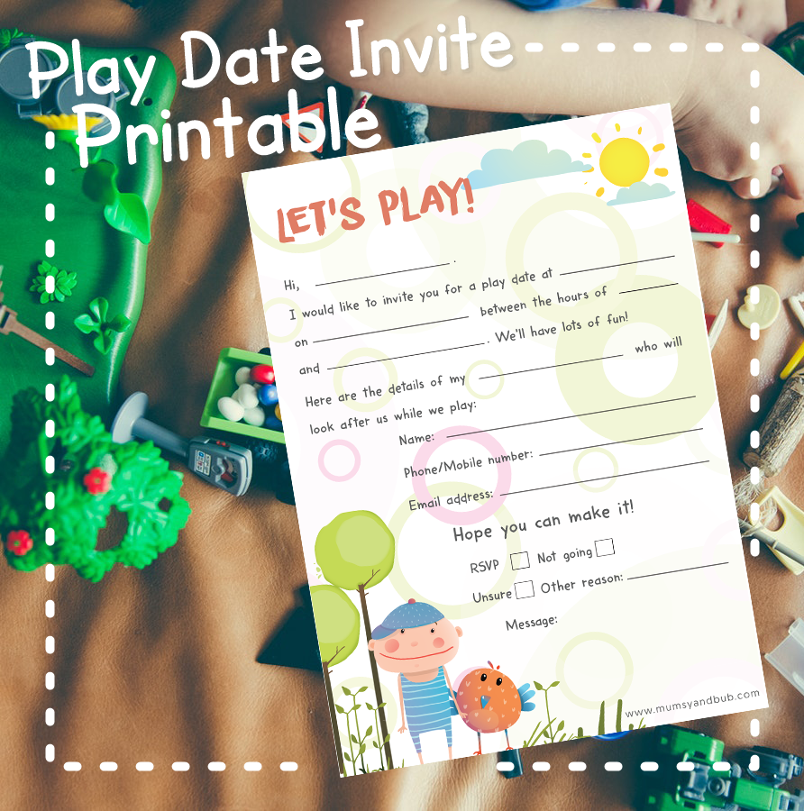 photograph relating to Printable Dates named Totally free PDF Printable - Participate in Day Invite Mumsy and Bub